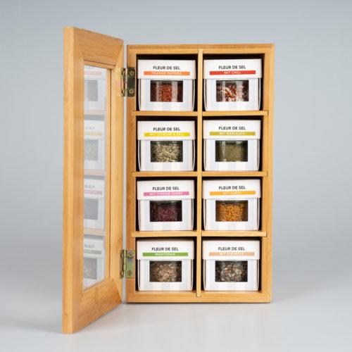 8 Kräutersalze nach Wahl + gratis Bambus-Box