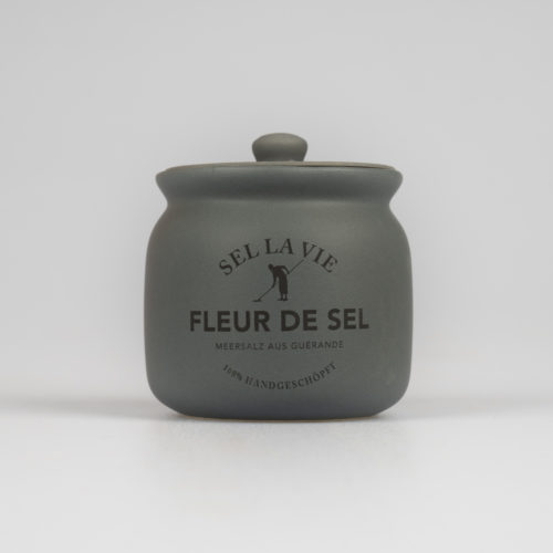 Grauer Keramiktopf mit Deckel